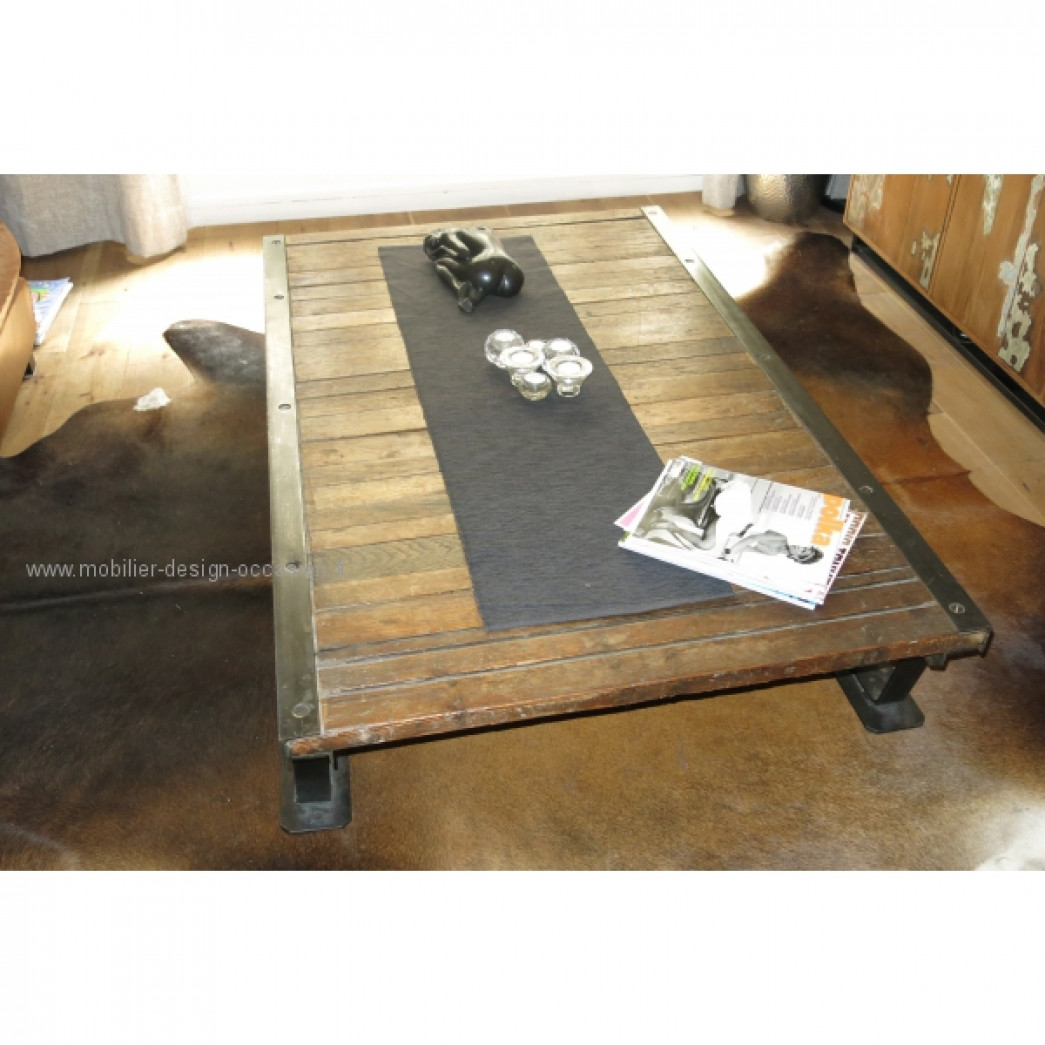 Authentique table basse industrielle for Grande table basse industrielle