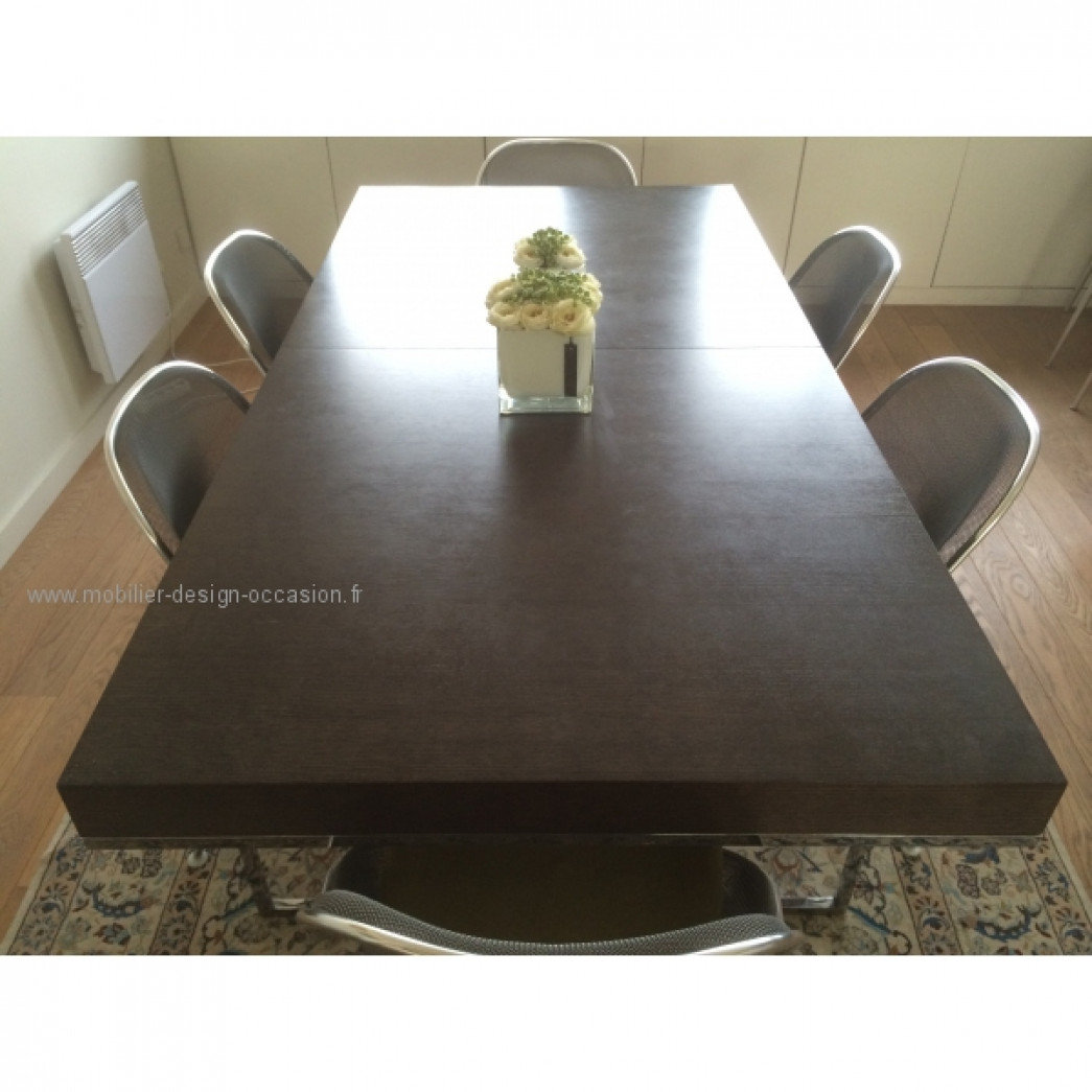 Table salle manger bbitalia athos couleur ch ne b b for Table avec rallonge incorporee