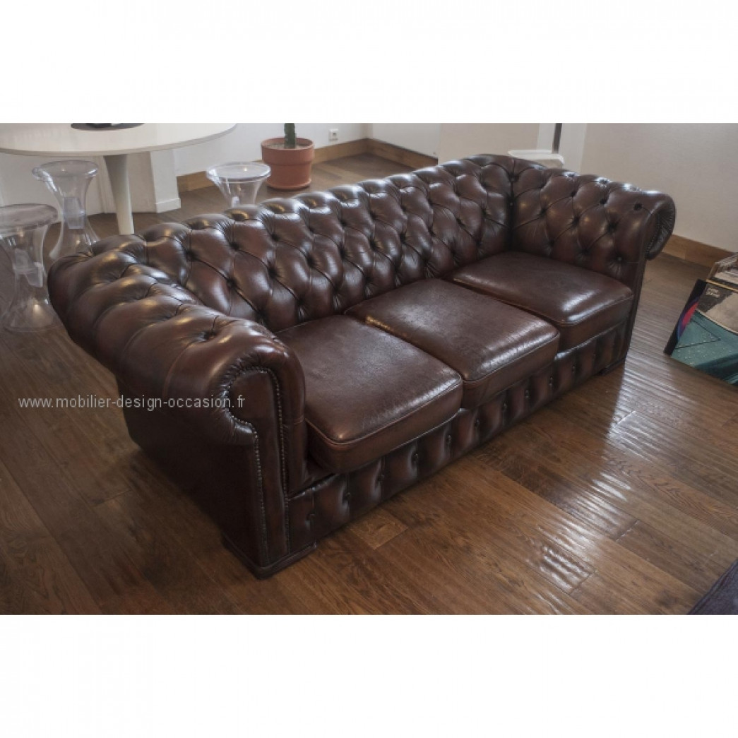 Canap chesterfield 3 places brun - Canape chesterfield cuir occasion ...