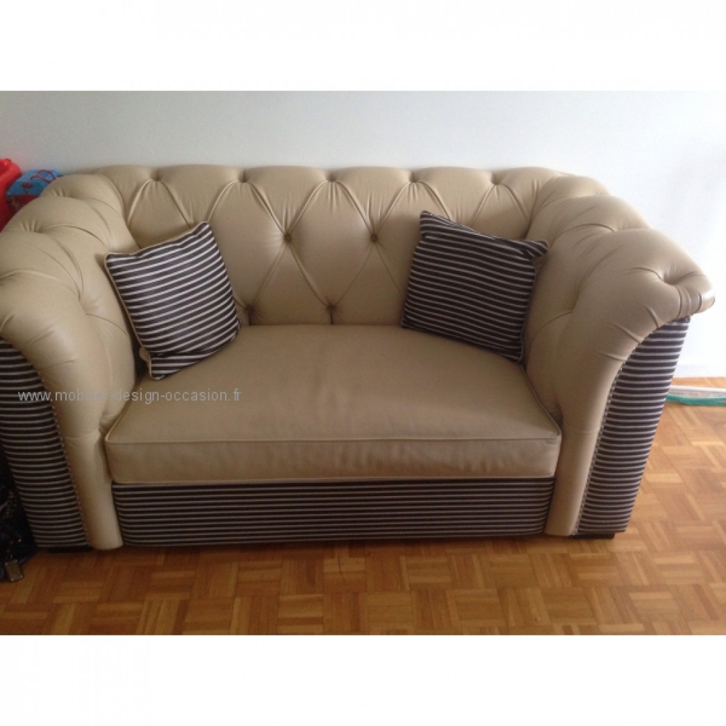 Chesterfield canape cuir beige