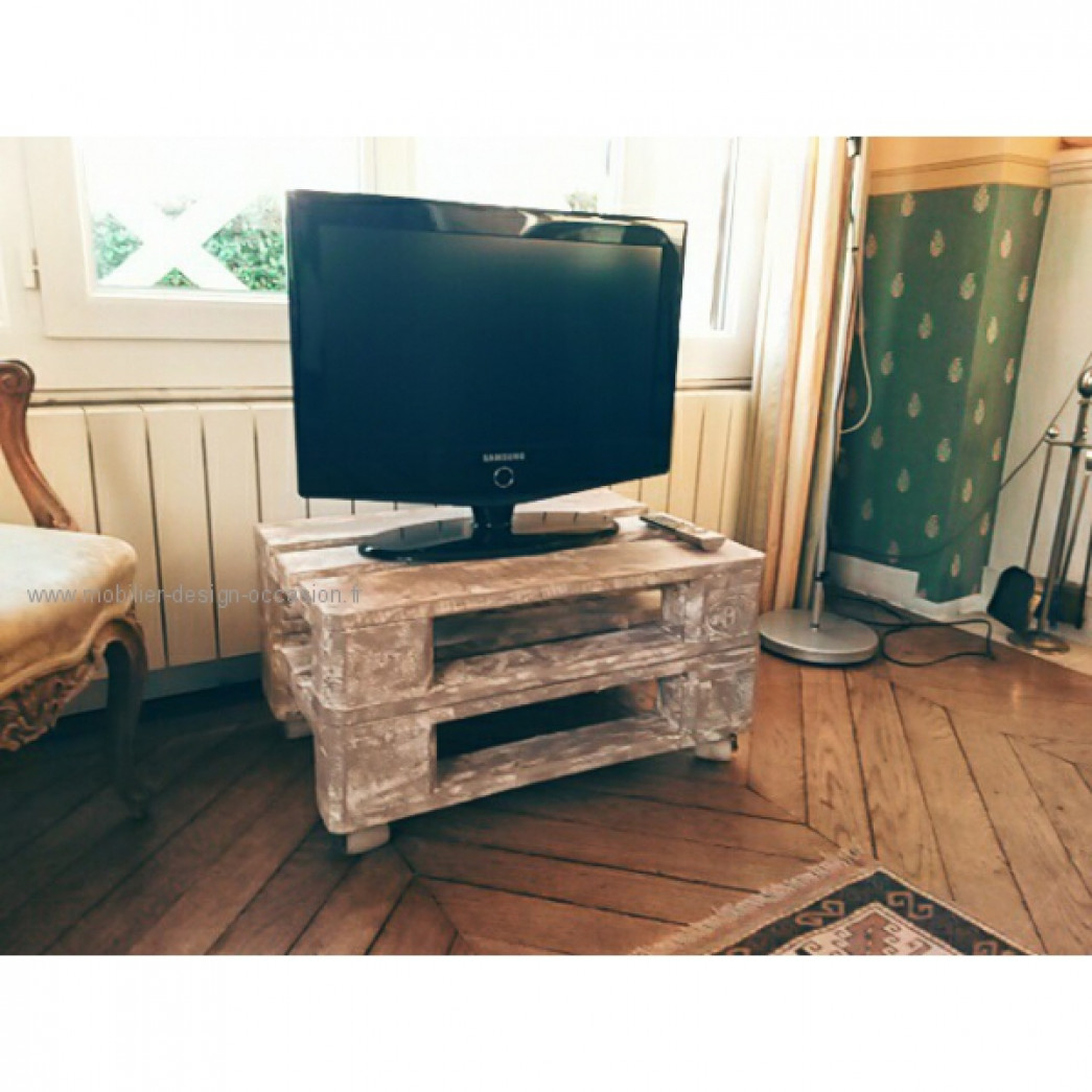 Meuble t l vision vintage palette bois home design for Table de television en bois