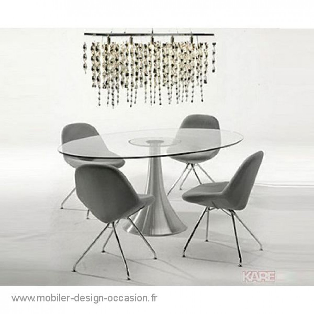 Table design ovale verre et alu pied en tulipe kare - Table en verre ovale ...