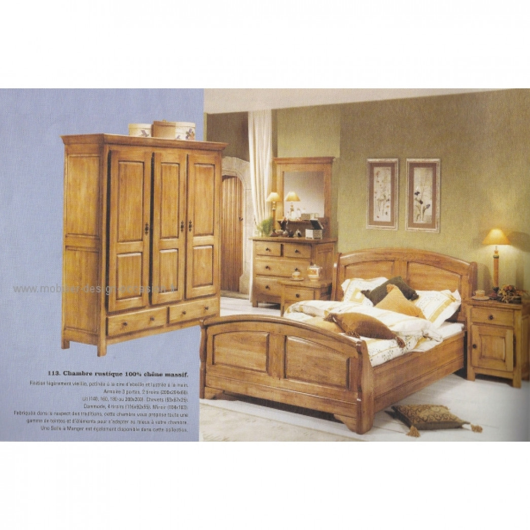 chambre rustique en ch ne massif lambermont. Black Bedroom Furniture Sets. Home Design Ideas