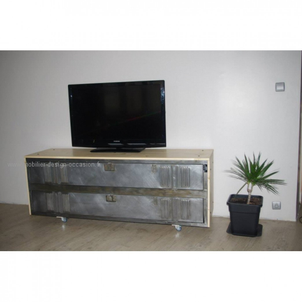 meuble tv industriel vestiaire m tal et bois. Black Bedroom Furniture Sets. Home Design Ideas