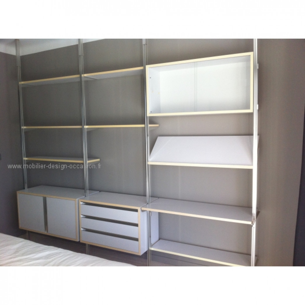 Bibliothèque George Nelson modulable sol plafond CSS OMNI WALL UNIT,Mobilier International,GEORGE NELSON USA