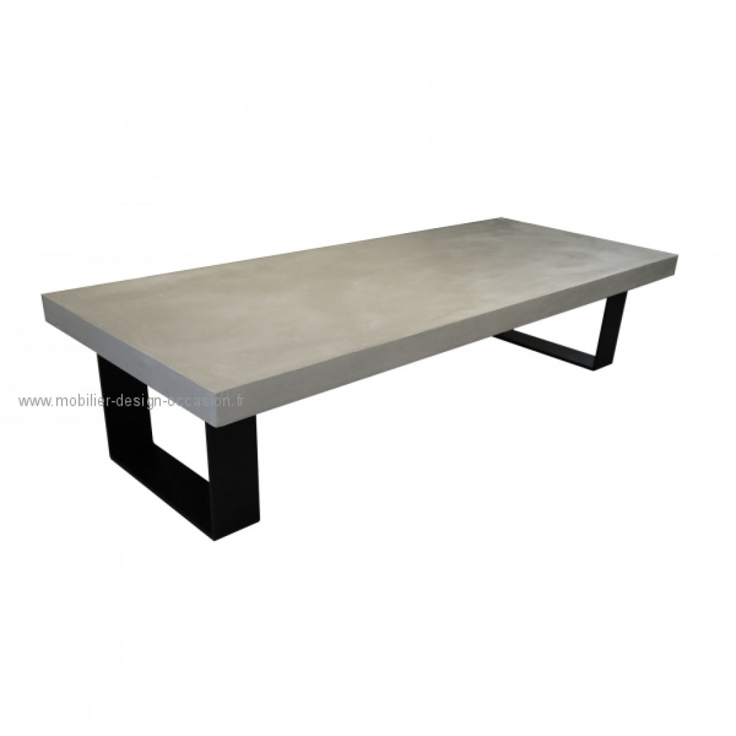 Table basse salon beton cire for Table effet beton cire