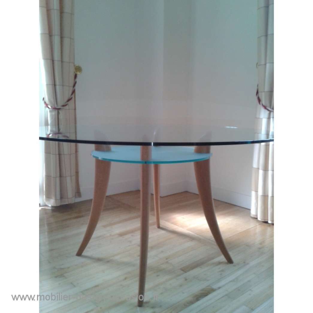 Table modulable style art d co en ch ne massif for Table haute en verre