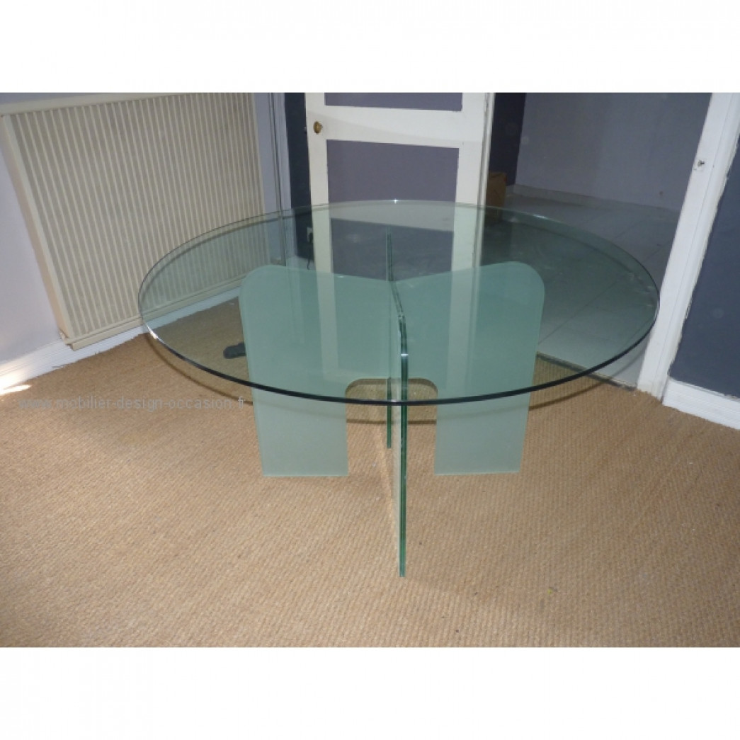 Table verre fleur de fer - Table basse 110x110 ...