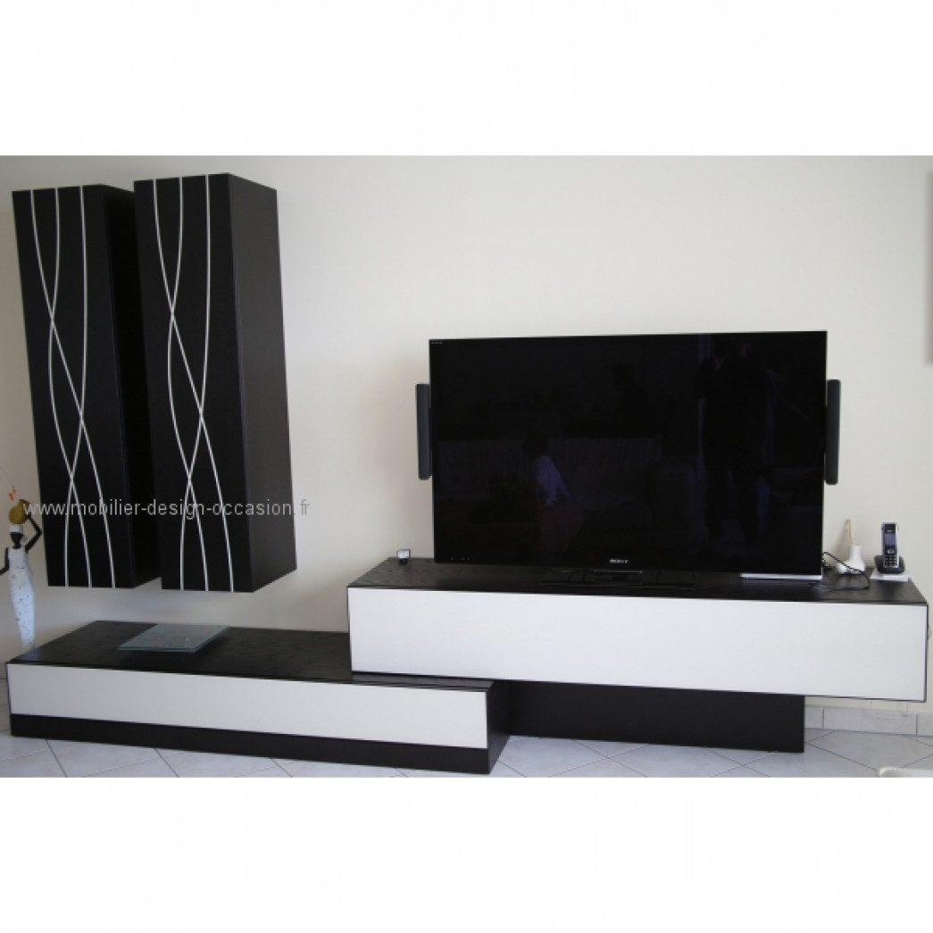 meuble tv en mdf recouvert d 39 un enduit b ton cir. Black Bedroom Furniture Sets. Home Design Ideas