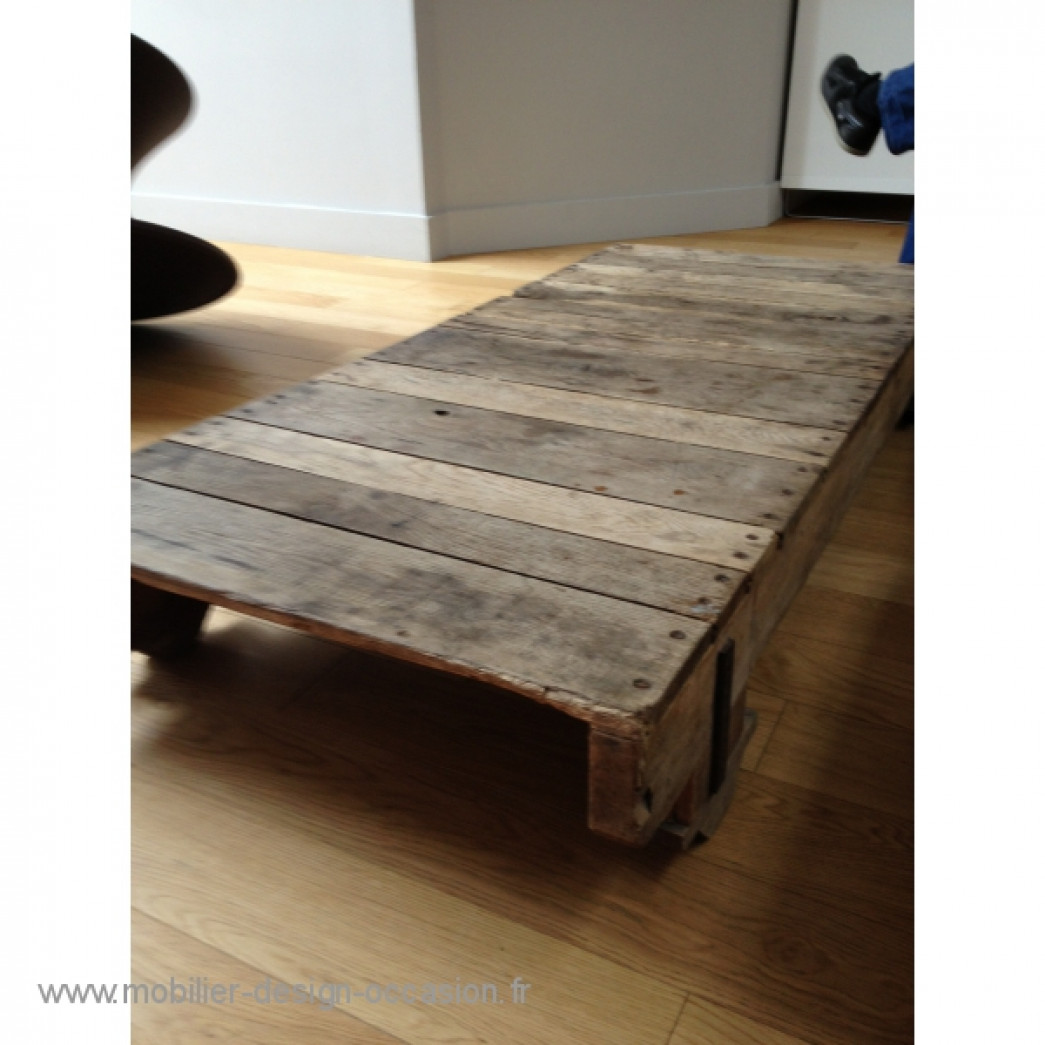 Table basse bois industriel vintage