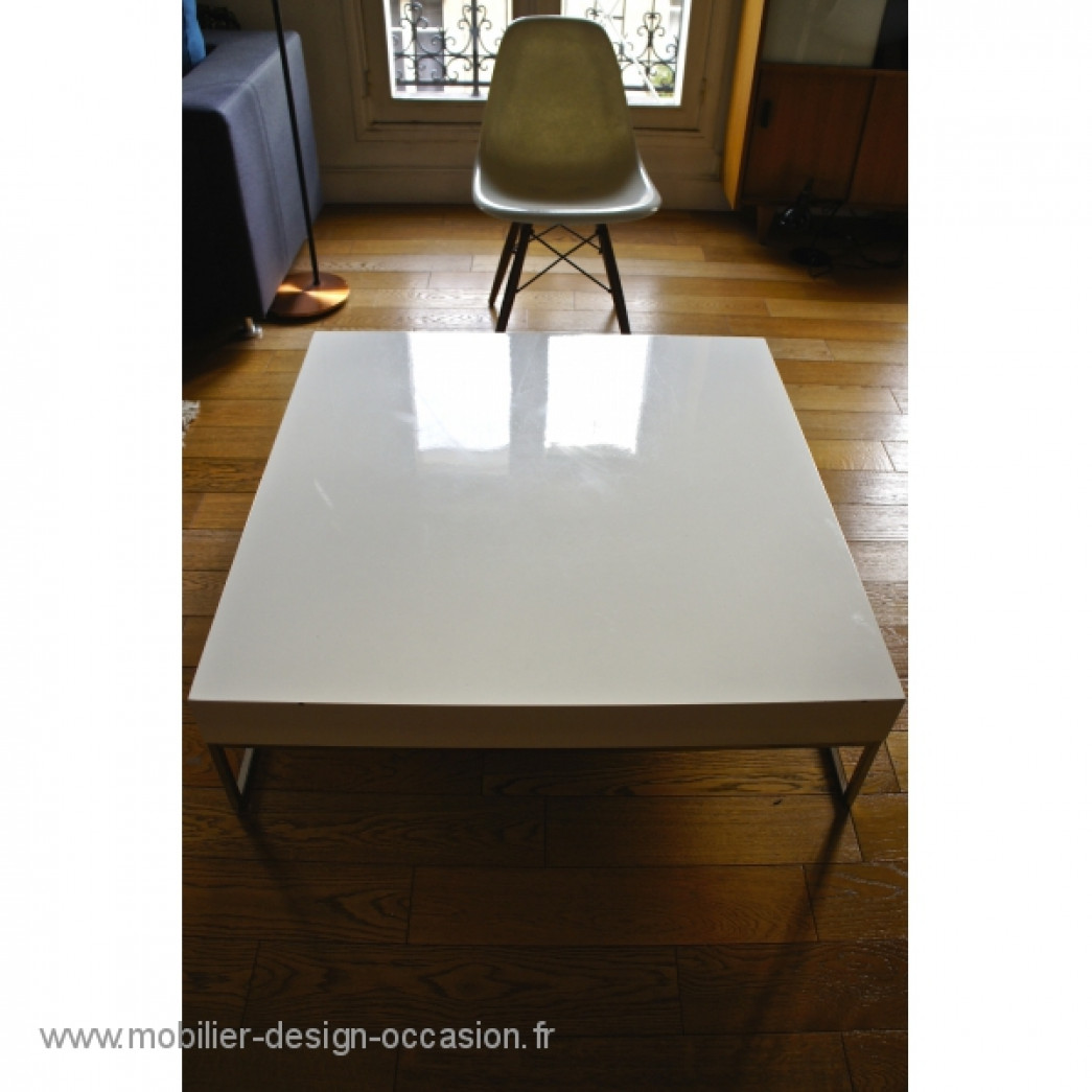 Table basse carr e design laqu e blanc - Table basse carree blanc ...