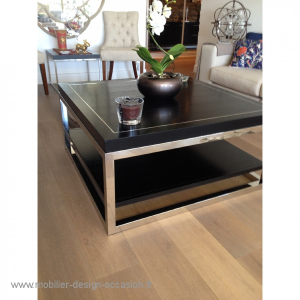 Table basse design bois et acier for Table basse bois design