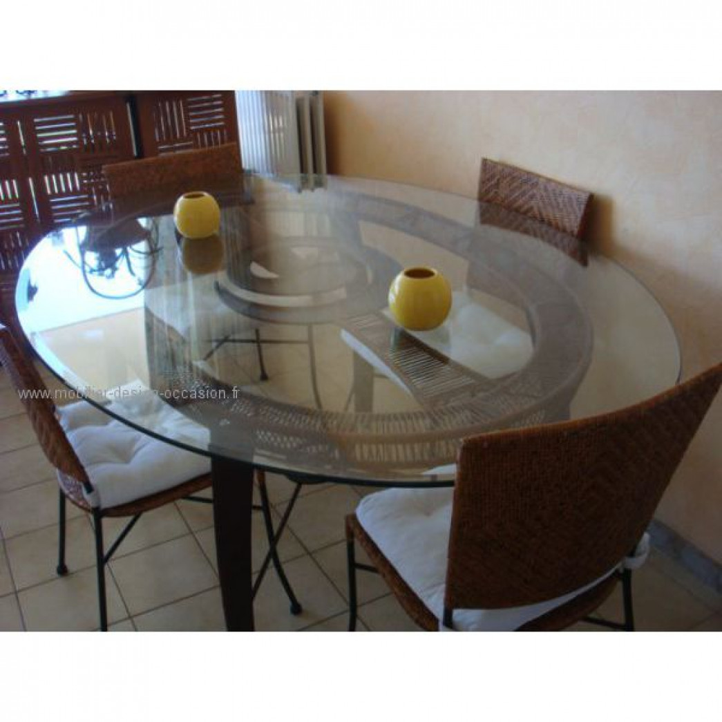 Table ronde en verre pied m tal et plexiglass - Table haute fer forge ...