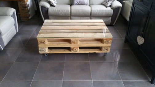 Table basse industrielle two palettes