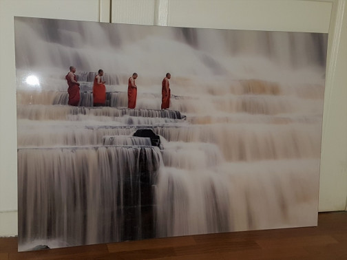 Monks in Waterfall,Yellowkorner,Dang Ngo