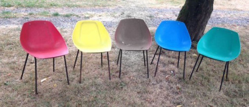 4 Chaises Coquillage Pierre Guariche Meurop 1950