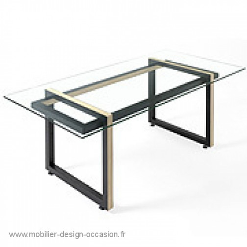 table verre et metal. Black Bedroom Furniture Sets. Home Design Ideas