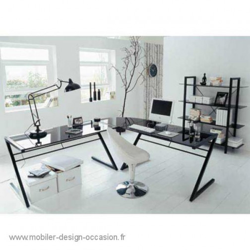 bureau noir design etagere. Black Bedroom Furniture Sets. Home Design Ideas