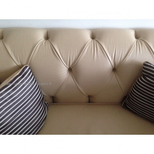 Chesterfield canape cuir beige(3)