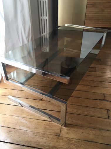 Table basse vintage chrome et verre