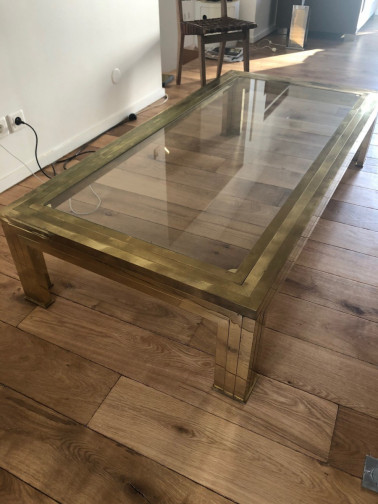 table basse laiton et verre,Willy Rizzo,Willy Rizzo