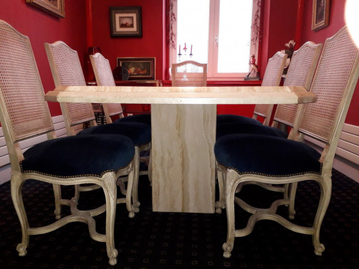 table de repas travertin onyx 200x100