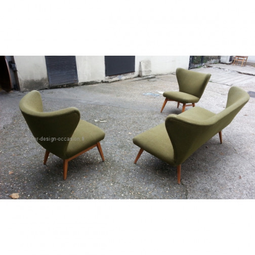 rare set scandinave danois année 50 wing chair lounge chair(3)