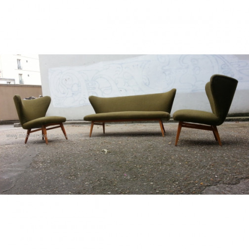 rare set scandinave danois année 50 wing chair lounge chair(5)
