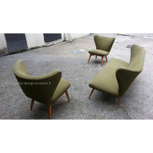 rare set scandinave danois année 50 wing chair lounge chair(12)