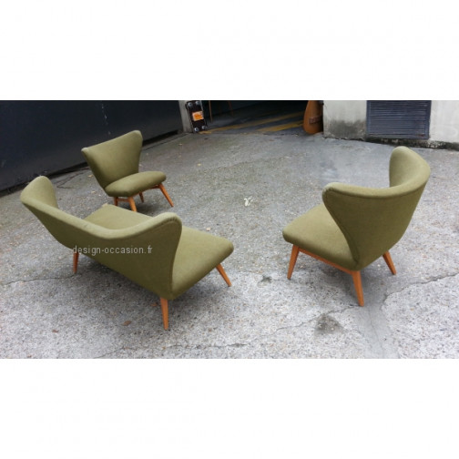 rare set scandinave danois année 50 wing chair lounge chair(4)