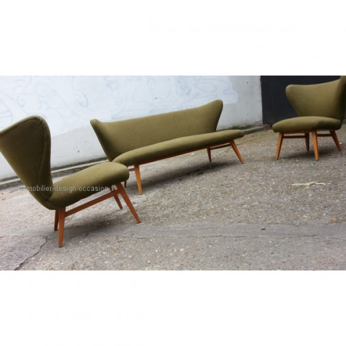 rare set scandinave danois année 50 wing chair lounge chair(16)