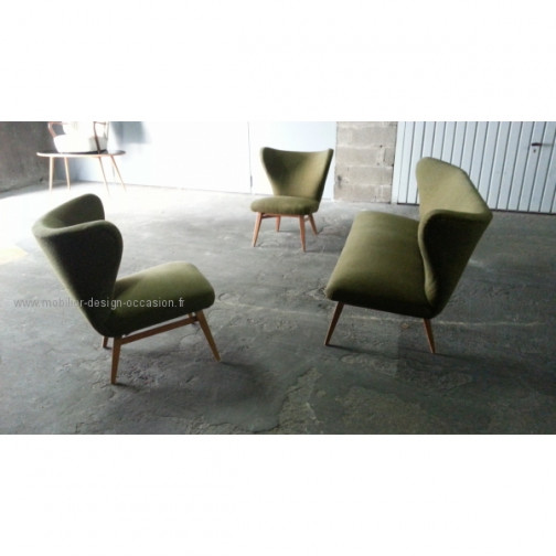 rare set scandinave danois année 50 wing chair lounge chair(18)