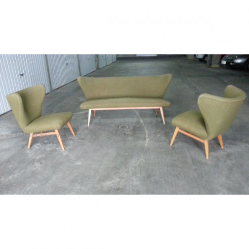rare set scandinave danois année 50 wing chair lounge chair(19)