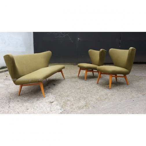 rare set scandinave danois année 50 wing chair lounge chair(2)