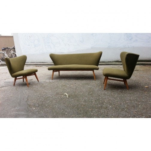 rare set scandinave danois année 50 wing chair lounge chair(1)