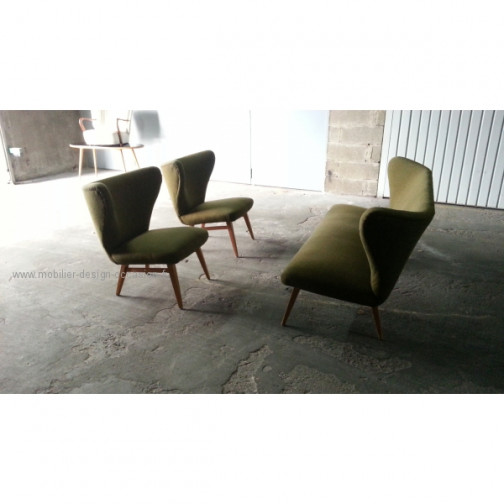 rare set scandinave danois année 50 wing chair lounge chair(8)
