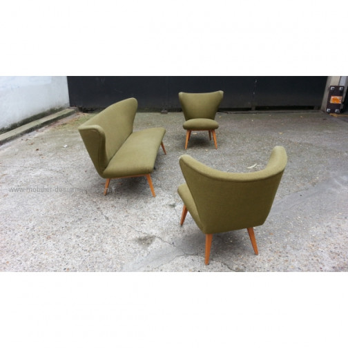 rare set scandinave danois année 50 wing chair lounge chair(9)