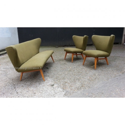 rare set scandinave danois année 50 wing chair lounge chair(10)