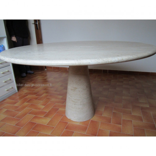 TABLE RONDE TRAVERTIN LIGNE ROSET 83