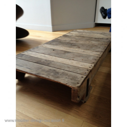 Table basse bois industriel vintage (1)