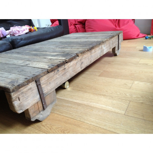 Table basse bois industriel vintage (4)