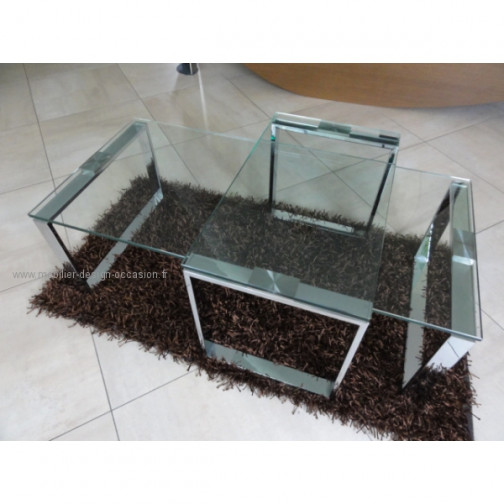 Table basse en verre et chrome(1)