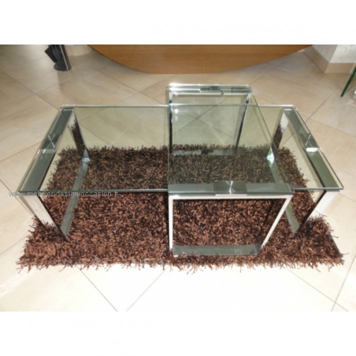 Table basse en verre et chrome(2)