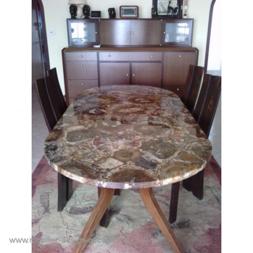 Table RARE ovale bois silicifié origine Madagascar.