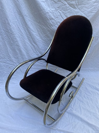 Fauteuil/rocking chair velour marron